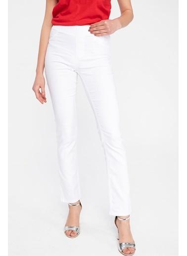 DeFacto Carmela Straight Fit Pantolon Beyaz